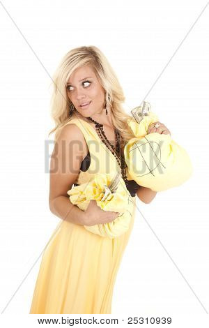 Greedy Woman With Money Bags