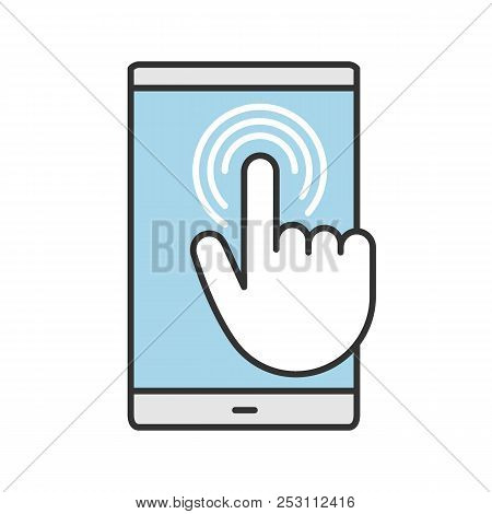 Smartphone Touchscreen Color Icon. Double Tap Touch Gesture. Mobile Phone. Isolated Vector Illustrat
