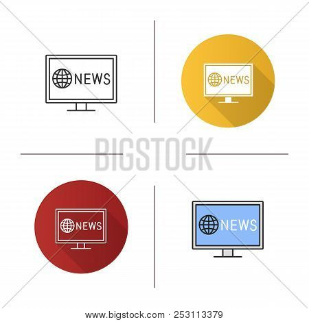 Tv News Icon. Newscast. Flat Design, Linear And Color Styles. Isolated Vector Illustrations