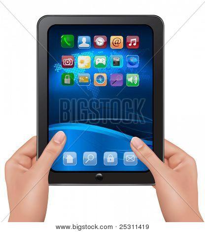 Manos sosteniendo digital tablet PC con iconos. Ilustración de Vector