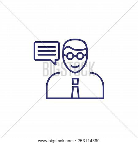 Consulting Line Icon. Expert, Advisor, Speech Bubble. Business Concept. Can Be Used For Topics Like