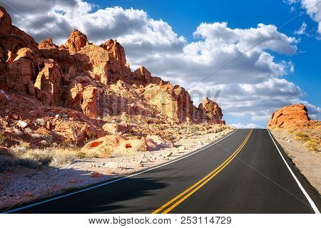 Driving Uphill Scenic Road, Travel Concept, Usa.