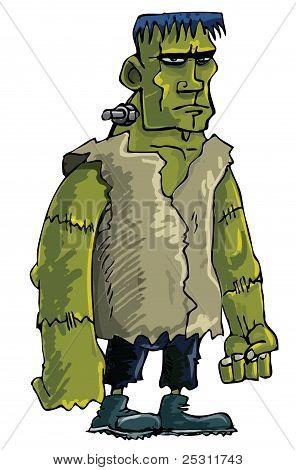 Cartoon Green Frankenstein Monster