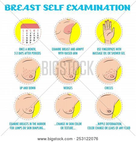 Breast Self Exam, Breast Cancer Monthly Examination Infographics. Icon Set. Symptoms Of Breast Cance
