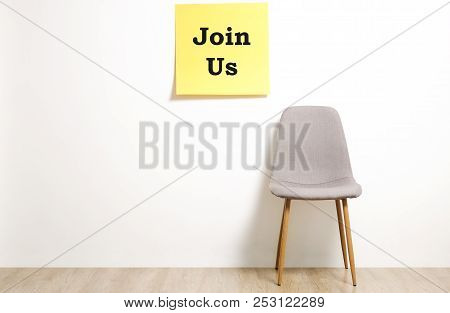 Head Hunting Help Wanted Poster Concept. Minimalistic Composition With Chair And Blank Copy Space Wa