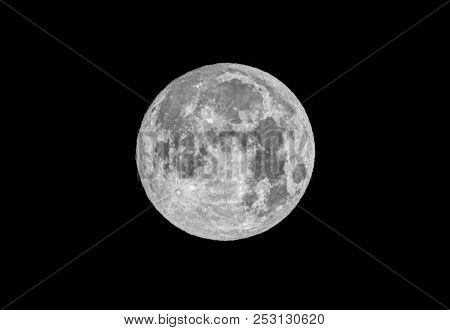Full Moon Up Close In A Black Night Sky