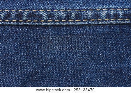 Blue Jeans Background. Jeans Texture. Close Up