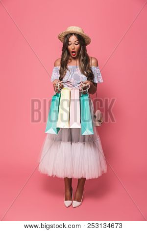 Full length portrait of shopaholic shopaholic woman 20s wearing straw hat and fluffy skirt holding colorful paper shopping bags isolated over pink background poster