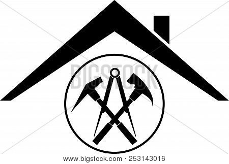 Roofing Tools And House Roofing, Roofing Sticker Label
