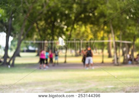 Abstract Blurred Group Of Latin America Outdoor Volleyball Players