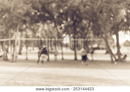 Vintage Blurred Group Of Latin America Outdoor Volleyball Players