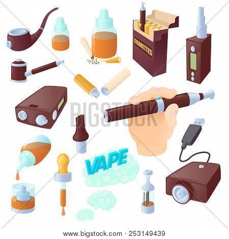 Cartoon Electronic Cigarettes Icons Set. Universal Electronic Cigarettes Icons To Use For Web And Mo
