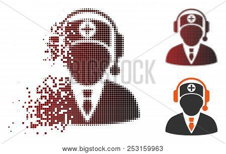 Vector Medical Operator Icon In Fractured, Dotted Halftone And Undamaged Entire Versions. Disappeari