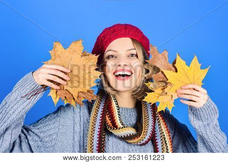 Autumn. Happy Woman With Maple Leaves. Autumn Mood. Smiling Woman With Autumn Leaf. Yellow Maple Lea