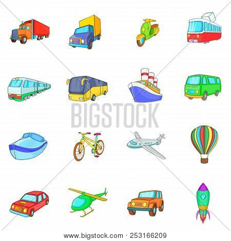 Cartoon Transport Icons Set. Universal Transport Set To Use For Web And Mobile Ui, Set Of Basic Tran