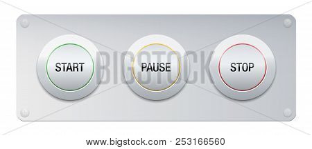 Start, Pause, Stop Button On A Metallic Panel For Instruments, Machines, Gadgets. Symbolic For Work