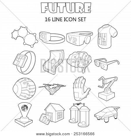 Outline Future Icons Set. Universal Future Icons To Use For Web And Mobile Ui, Set Of Basic Future E
