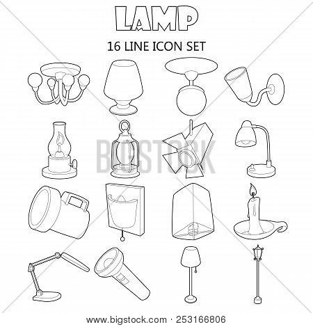 Outline Lamp Icons Set. Universal Lamp Icons To Use For Web And Mobile Ui, Set Of Basic Lamp Isolate