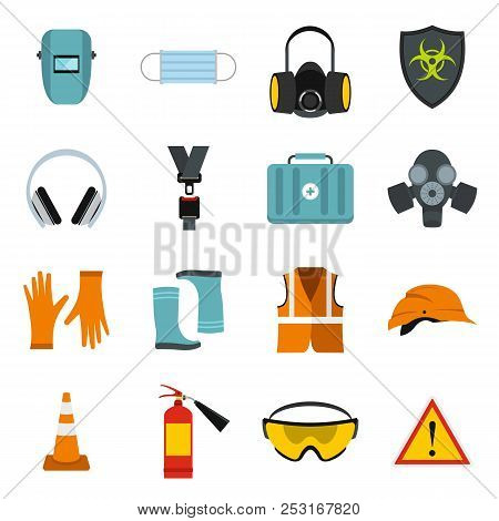 Flat Safety Icons Set. Universal Safety Icons To Use For Web And Mobile Ui, Set Of Basic Safety Elem