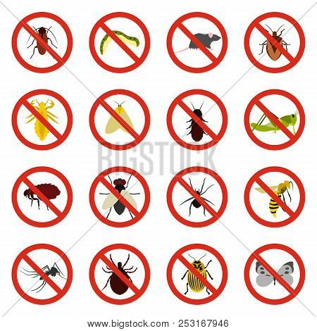 Flat No Insect Sign Icons Set. Universal No Insect Sign Icons To Use For Web And Mobile Ui, Set Of B