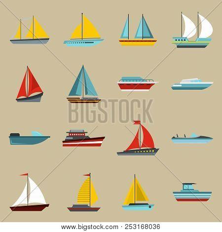 Flat Ship Icons Set. Universal Ship Icons To Use For Web And Mobile Ui, Set Of Basic Ship Elements I