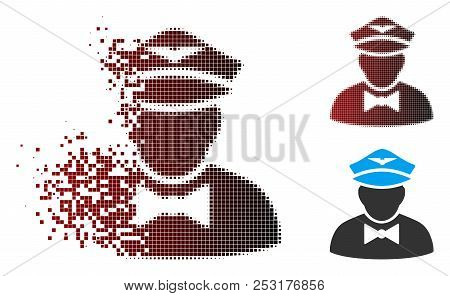 Vector Airline Steward Icon In Sparkle, Dotted Halftone And Undamaged Whole Versions. Disintegration