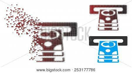 Vector Cashpoint Icon In Dissolved, Dotted Halftone And Undamaged Whole Versions. Disappearing Effec