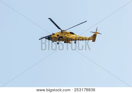New Bedford, Massachusetts, Usa - August 10, 2018: U. S. Coast Guard Mh-60 Jayhawk Helicopter Flying