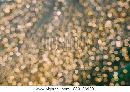 Abstract Yellow Bokeh Circles For Christmas Background. Royalty High-quality Free Stock Photo Of Chr