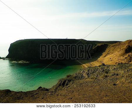 Papagayo Cliffs, Lanzarote Island. One Of The Most Popular Places On Lanzarote Island. Beautiful Lan
