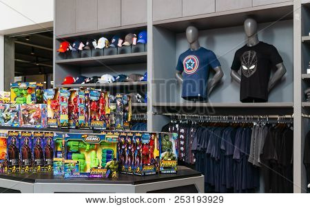 Bangkok, Thailand. - On August 11, 2018. - Shop At The Marvel Experience Superstore In Bangkok Thail