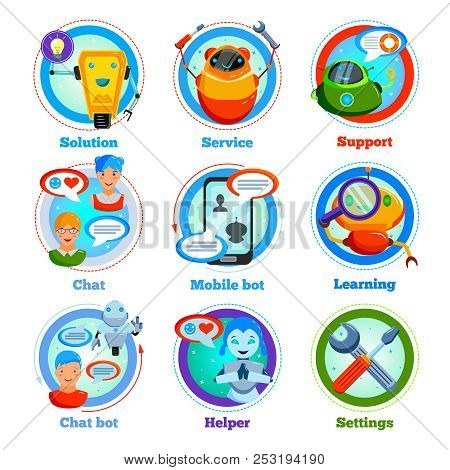 Chat Bot Flat Icons With Automatic Program For Support Service, Settings, Learning, Friendly Communi