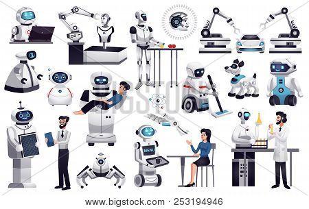 Robots Next Generation Artificial Intelligence Machines In Industry Medicine Housekeeping Office Hel