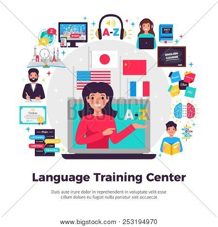 Foreign Language Training Center Advertisement Flat Composition With Tutor Online Learning Programs