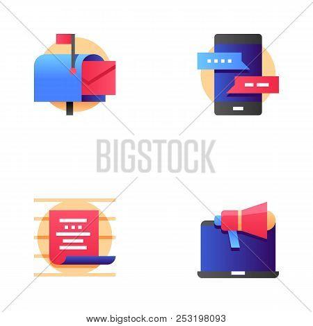 Buzz Marketing Vector Line Icons Set. Digital Marketing, Omni-channel, Multichannel Marketing, Brand