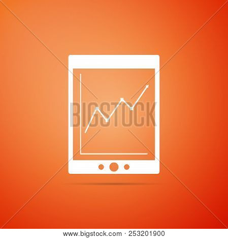 Tablet With Statistic Graph Chart Icon Isolated On Orange Background. Financial Chart And Graph Sign