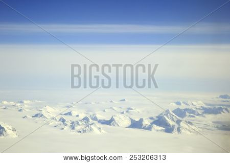 Svalbard Arctic Landscape From Aerial View, Norway