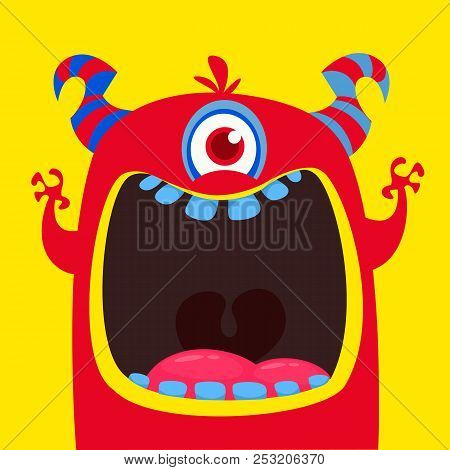 Funny Red One Eyed Horned Cartoon Monster. Funny  Monster With Mouth Opened Wide. Halloween Vector I