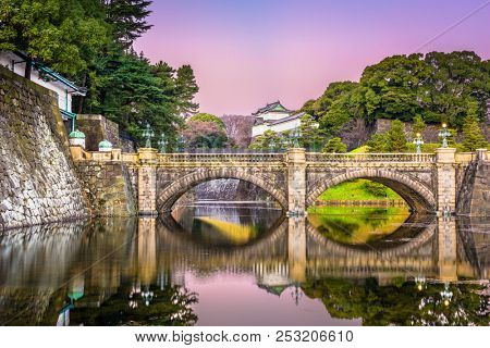 Tokyo, Japan at the Imperial Palace moat and bridge at dawn.