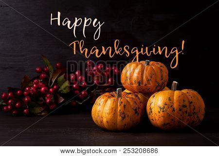 Happy Thanksgiving Greeting Card With The Orange Pumpkins