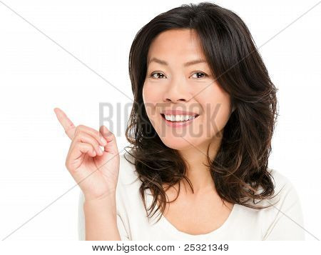Pointing Showing Asian Woman