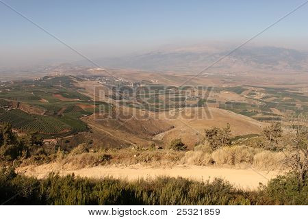 Hermon Mountain And Golan Heights View. Israel
