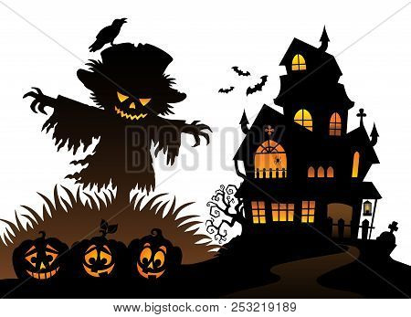 Halloween Scarecrow Silhouette Theme 3 - Eps10 Vector Picture Illustration.