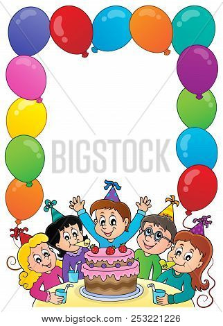 Kids Party Topic Frame 1 - Eps10 Vector Picture Illustration.