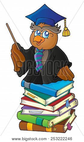 Owl Teacher On Stack Of Books Theme 1 - Eps10 Vector Picture Illustration.