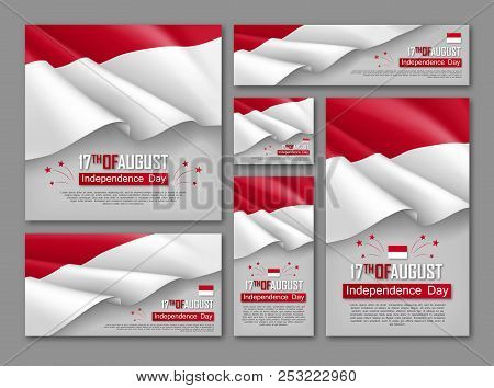 Indonesian Independence Day Celebration Posters Set. 17th Of August Felicitation Greeting Vector Ill