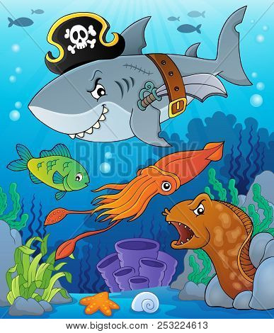 Pirate Shark Topic Image 7 - Eps10 Vector Picture Illustration.