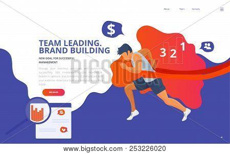 Team Leader Training Coaching Concept Vector Illustration. Team Building Leading Online Or Offline C