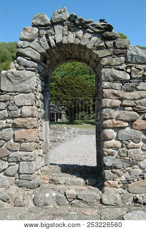 Aberdeenshire, Scotland - May 10th 2018: Remains Of Window Of Deer Abbey, Near Mintlaw