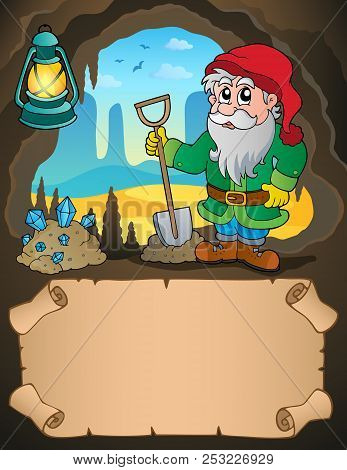 Small Parchment And Dwarf Miner 2 - Eps10 Vector Picture Illustration.